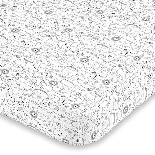 Carter's Black & White Safari Animals Super Soft Mini Crib Fitted Sheet, Black, White, 6715745P
