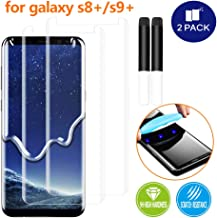 Johncase [2 Pack] New Upgrade Screen Protector Compatible for Samsung Galaxy S8 Plus/S9 Plus (S8+/S9+), Full Edge 3D Curved Tempered Glass Film W/UV Liquid Adhesive Light Installation Kit