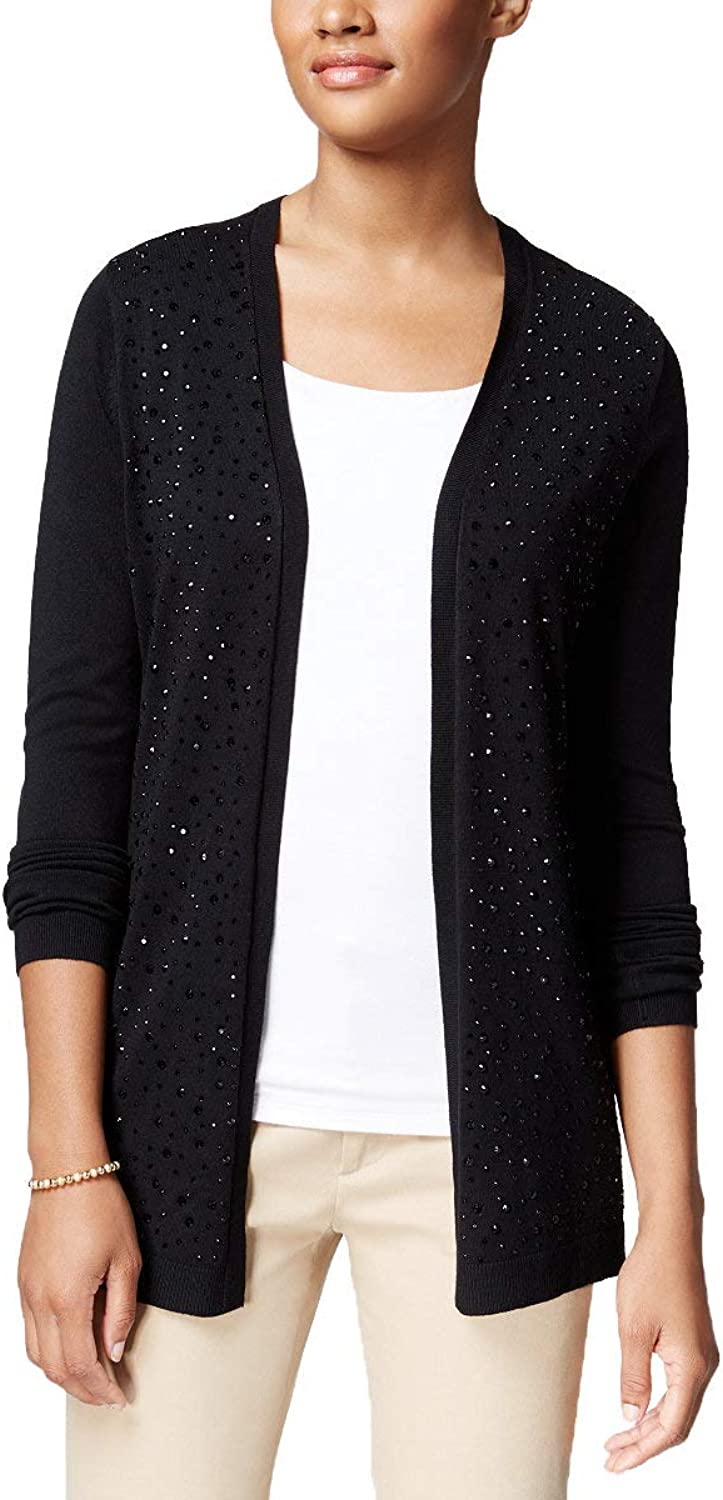 Charter Club Womens Embellished OpenFront Cardigan