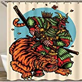 VAMIX Shower Curtain,Vector Illustration of Armored Japanese Ronin Warrior and Tiger,Polyester Fabric Waterproof Bath Curtains Hooks Included - 72 x 72 inches
