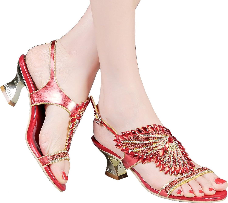 Abby Womens Crystal Wedding Bride Bridesmaid Fashion Party Show Dress Character Mid Heel Micro-Fiber Sandals