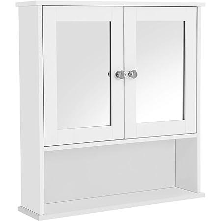 VASAGLE Armoire Murale Salle de Bain, Placard de Rangement Toilettes, avec 2 Portes et Miroirs, 3 Niveaux, Étagères à Hauteur Réglable, 56 x 13 x 58 cm, Blanc LHC002