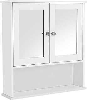 VASAGLE Armoire Murale Salle de Bain, Placard de Rangement Toilettes, avec 2 Portes et Miroirs, 3 Niveaux, Étagères à Haut...