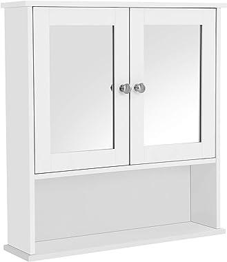 VASAGLE Armoire Murale Salle de Bain, Placard de Rangement Toilettes, avec 2 Portes et Miroirs, 3 Niveaux, Étagères à Hauteur