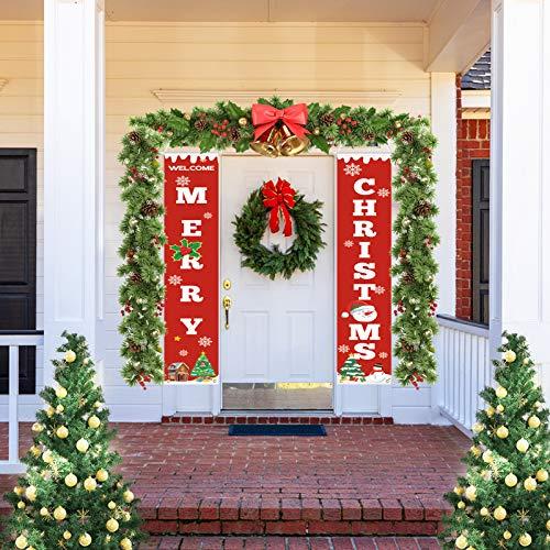 Maxjaa Frohen Weihnachten Banner, Willkommen & Frohe Weihnachten Girlande Banner Weihnachten Fensterdeko Kamin Bild Indoor Outdoor Partei Dekorationen