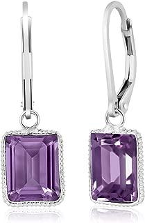 925 Sterling Silver Amethyst Dangle Earrings, Gemstone Birthstone 10X8MM Emerald Cut 5.00 Ctw