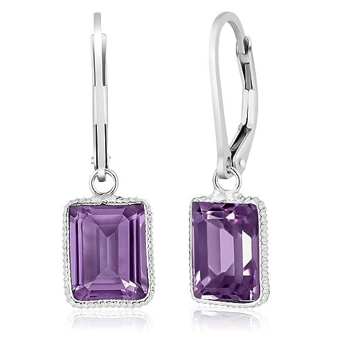 ffcf5f215 Gem Stone King 925 Sterling Silver Amethyst Dangle Earrings, Gemstone  Birthstone 10X8MM Emerald Cut 5.00