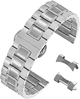 Stunning Brushed Stainless Steel Watch Strap Replacement with Straight&Curved End