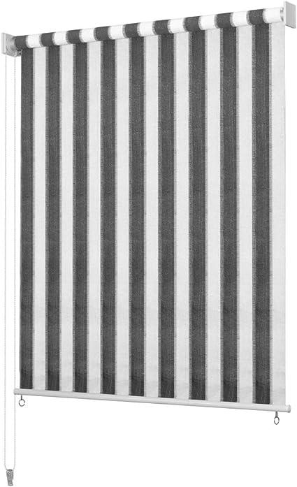 Festnight Persiana Enrollable de Exterior Toldo Vertical para Balcón, Patio, Porche o Pérgola A Rayas Gris Antracita y Blanca