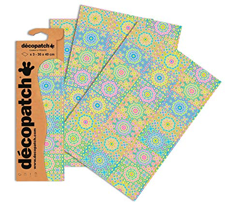 Decopatch Papier No. 633 (grün pink Casablanca, 395 x 298 mm) 3er Pack