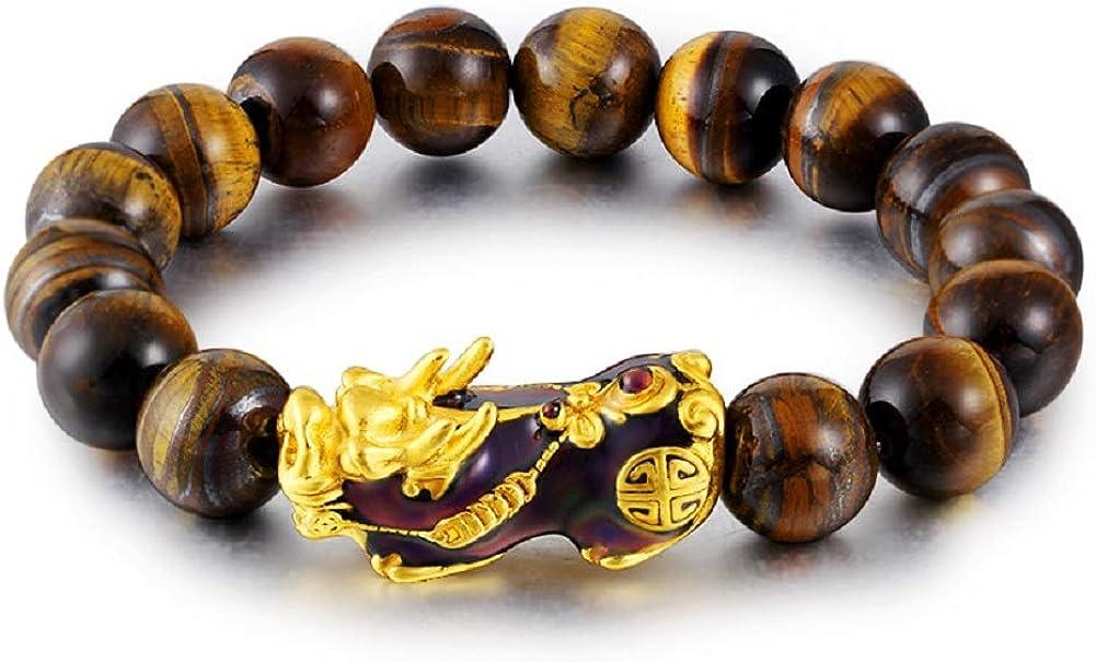 Abitoncc 14K Plated 12 mm Feng Shui Men Bracelet Pixiu Piyao Color Change Black Bead Lucky Bracelet Bangle Wristband Women Girl Boy
