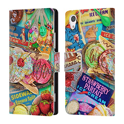 Officiële Aimee Stewart Banaan Split Kleurrijke snoepjes Lederen Book Portemonnee Cover Compatibel voor Sony Xperia XA1 / Dual