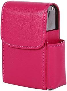 Portasigarette in Pelle PU portasigarette portasigarette con Accendino Porta Carte di Nome Rosso Rosato