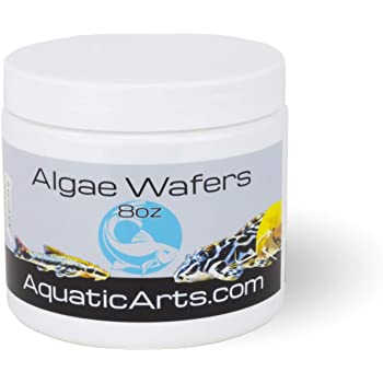Aquatic Arts Algae Wafers (8 Ounce) Sinking Food for Live Aquarium Shrimp, Fish (Pleco/Tetra), Snails, and Bottom Feeders | High Protein Spirulina Blend Fish Food for Fish Tank Aquariums