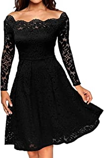 Women's Colorful ee-Length Dress for Long Sleeve Off Shoulder Lace Evening