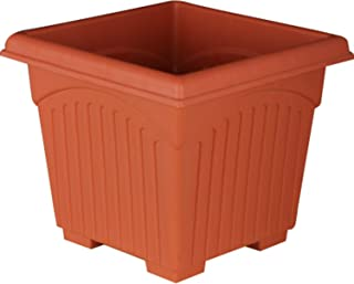 First Smart Plastic Square Pot (10-inch, Brown, Pack of 4)