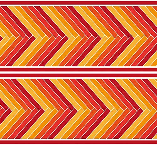 "Selbstklebende Bordüre ""Muster Fischgräten"", 4-teilig 560x15cm, Tapetenbordüre, Wandbordüre, Borte, Wanddeko,orange, rot"