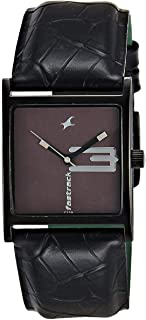 Fastrack New OTS Women's Black Dial Leather Band Watch - T9735NL02