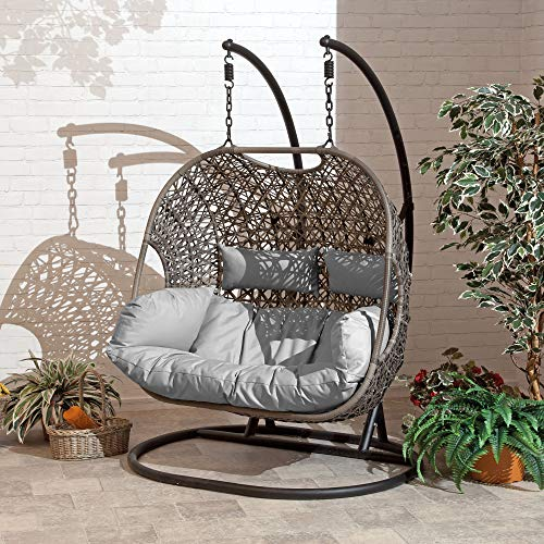 SunTime Brampton Luxury Rattan Wicker Outdoor Hanging Cocoon Egg Swing Chair with Grey Cushions and Cover (Double) Garden Furniture & Accessories Garden & Outdoors