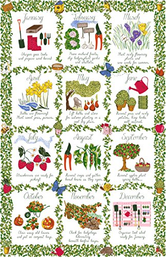 Ulster Weavers Geschirrtuch aus Baumwolle, 73,9x 48cm, Gärtner-Kalender, in englischer Aufschrift, 1 Stück