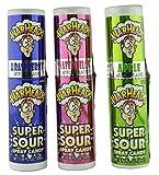 Warheads Super Sour Candy Spray Bottles, Sampler, Bundle, (.68 Oz. Bottles), Blue Raspberry, Apple and Watermelon