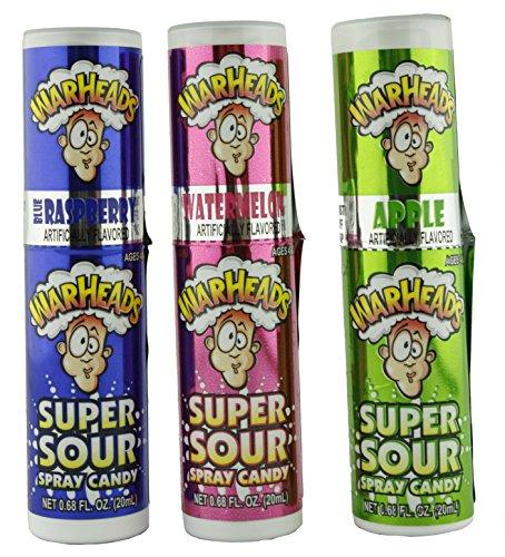 Warheads Super Sour Candy Spray Bottles, Sampler, Bundle, (.68 Oz....