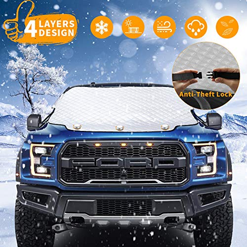 VIVVAUTO Magnetic Car Windshield Snow Cover for SUV. 4 Layers, Waterproof, Soft Scratch-Free, Ice...