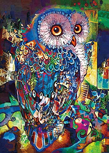 """RONSTONE Jigsaw Puzzles 1000 Pieces for Adults, Owl Puzzle, 27.6H × 19.7"""" W Oil Painting Animal Puzzles for Education & Relaxation, Brain IQ Developing Magical Game"""