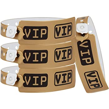 Wristall VIP Plastic Wristbands for Event - Party Wristbands Vinyl Band for Club (Gold, 200)