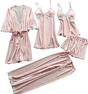 PajamaMania Pyjamas pour Femme V/êtement de nuit Chemise de Nuit sans Manches