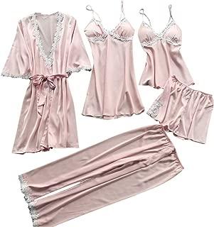 Ausexyy Women Nightwear 5Pcs Suit Satin Lace Lingerie Plus Size Strappy Halter Dress Pants Robe Babydoll Sleepwear