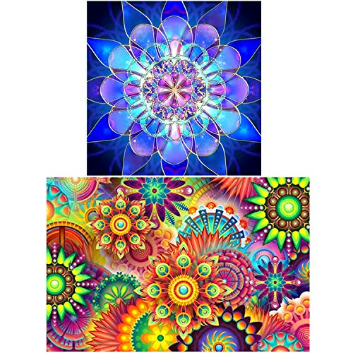 UPINS 2 Pack 5D DIY Diamond Painting by Number Kits?for Kaleidoscope Mandala (17.7X12inch) Geometric Blue Flower(12X12inch)
