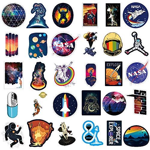 Autocollants NASA pour Ordinateur Portable 100PCS, Espace Explorateur Autocollants en Vinyle pour bouteille d'eau Voiture Bicyclette,Astronaute Univers de Vaisseau spatial Autocollants