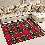 Liz Carter Teppiche Rot Grün Schottenkaro-Muster Bodenmatte für Innen/Außen Sofa Teppich...