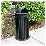 Cubo de basura Papelera de basura al aire libre Papelera de basura de metal de 10.5 galones de decoración comercial de 10,5 galones for calles del parque y otros lugares públicos, negro mate Residuos