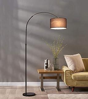 LED boogvloerlamp met marmeren voet - woonkamerverlichting voor achter de bank - moderne, hoge staande hanglamp, zwart