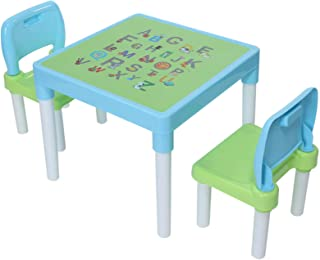 $132 » Sponsored Ad - Children's Study Table Set, Plastic Kids Table and 2 Chairs Set for Boys or Girls Toddler (Light Blue-)