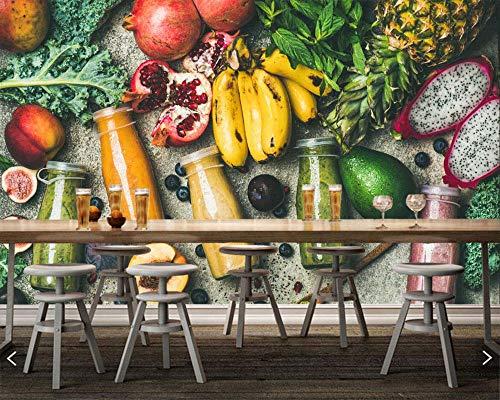 XLXBH 3D behang zelfklevende muurschildering sap fruit avocado banaan voedsel foto behang, restaurant bar woonkamer bar tv bank muur keuken 3D-muurschildering, kinderkamer kantoor eetkamer woonkamer de 250x175 cm (WxH) 5 stripes - self-adhesive