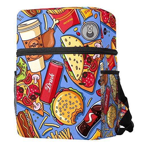 LORVIES Kids Backpack Hamburger Hot Dog Fries Coke Coffee Pizza Pattern Lightweight Preschool...