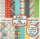 6X6 Pattern Paper Pack - Back to School Basics - Card Making Scrapbook Specialty Paper Single-Sided 6'x6' Collection Includes 64 Sheets - by Miss Kate Cuttables