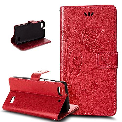 Kompatibel mit Huawei G Play mini Hülle,Huawei Honor 4C Hülle,Prägung Groß Schmetterling Blumen PU Lederhülle Flip Hülle Cover Ständer Wallet Tasche Schutzhülle für für Huawei G Play mini/Honor 4C,Rot