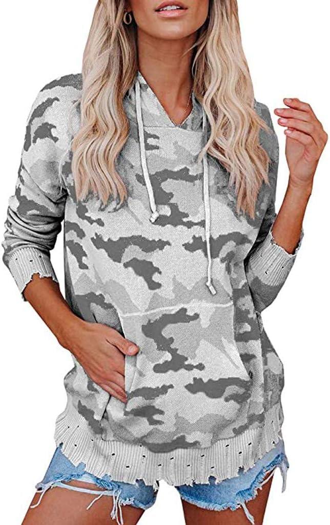 Kaifongfu Women's Camouflage Hoodie Sweatshirts Phoenix Mall latest Long Tops Loose