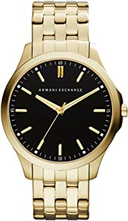 A|X Armani Exchange Men's 45mm Goldtone Watch with Black Dial