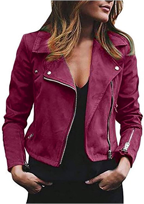 Bidobibo Leather Jackets Womens Detroit Mall Faux Max 57% OFF Jack Shacket Casual