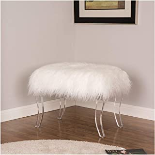 Glitzhome White Faux Fur Acrylic Bench with Acrylic Legs 24.02 Inch Length