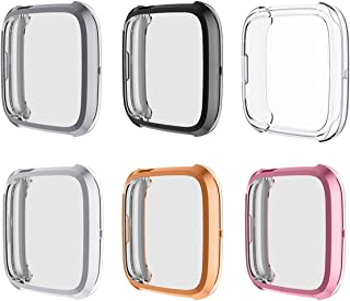 For Fitbit Versa 2ケースと互換性のあるフルカバーケース、Versa 2アクセサリー用の電気メッキTPUシリコンスクリーンプロテクターVersa 2スマートウォッチ用のフレームの傷に強い保護カバーケース(メッキ-6色)
