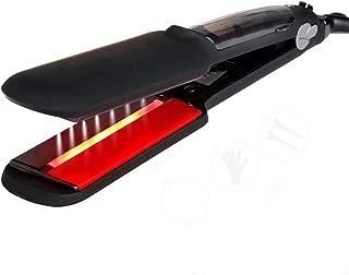 Hair Straightener Dual Voltage Ir Steam Hair Straightener Wide Plate Hair Salon Ceramic Tourmaline Flat Iron (Color : B)