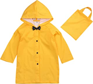 Voberry@ Unisex Baby Kids Rain Waterproof Raincoat Cartoon Dinosaur Hooded Zipper Rain Coat