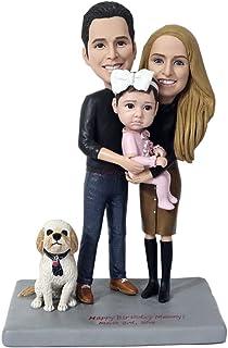 figurita familiar con perro figurillas de bobblehead personalizadas pareja personalizada cara y disfraz figurita animal pe...