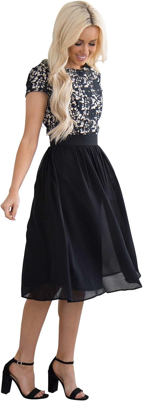 Jen Olivia Lace & Chiffon Modest Dress, Modest Semi-Formal Dress, Modest Bridesmaid Dress